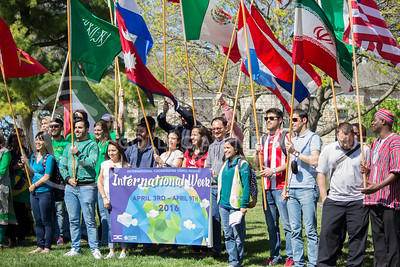 Students participate in a parade for International Week on April 4, 2016. (Miranda Snyder | The Collegian)