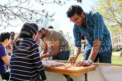 Ayyappan Elangovan, graduate student in Chemistry, participates in an activity during the International Week Game Day in the Quad on April 4, 2016. (Matthew Zajic | The Collegian)