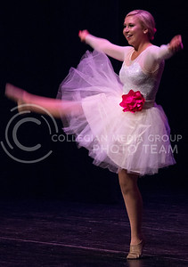 Molly Thomas, freshman in pre-journalism and mass communications, dances for the talent portion of the Miss K-State competition in McCain auditorium on April 12, 2016. (Miranda Snyder | The Collegian)