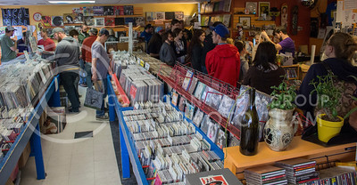 Patrons browse Sisters of Sounds music store for International Record Store Day on April 16, 2016. (Miranda Snyder | The Collegian)
