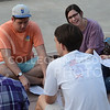 "Various K-State freshmen get together to learn about each other during ""Fresh"" on Sept. 1, 2015 at Bosco Plaza.  ""Fresh"" is a Christian based organization for freshmen wanting to learn more about Christ and college.  (Rodney Dimick 