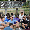 "Freshmen students get together to meet other freshmen students during ""Fresh"" on Sept. 1, 2015 at Bosco Plaza.  Student Mobilization hosts ""Fresh"" for freshmen students seeking to learn more about college life and Christ.  (Rodney Dimick 