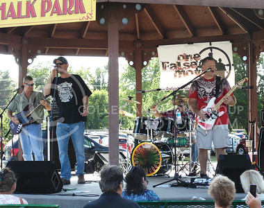 "Band One False Move, Chad Foiles, vocals, Curtis Nightingale, on guitar and vocals, and Norm Bennett on bass and vocals sings ""Rebel Yell"", originally sung by Billy Idol. This performance was at the Kansas state fair Sept. 12, 2015. (Jessica Robbins 
