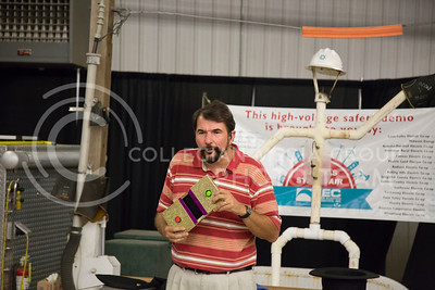 Magician Chris Dixon puts on a show about electrical safety at the state fair in Hutchinson, Ks Sept. 12, 2015. The fair ran from Sept. 11 to Sept. 20.  (Nathan Jones | The Collegian)