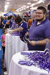Residence Life Coordinator David Arnold represents K-State at the 2015 Kansas state fair. This occured Sept. 12, 2015 in Hutchinson, Ks. (Jessica Robbins | The Collegian)