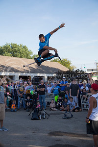 Pogo Fred entertains a crowd at the state fair in Hutchinson, Ks Sept. 12, 2015. The fair ran from Sept. 11 to Sept. 20.  (Nathan Jones | The Collegian)