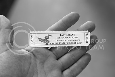 A ticket from the Kansas State Fair in Hutchinson, Ks Sept. 12, 2015. The fair ran from Sept. 11 to Sept. 20.  (Nathan Jones | The Collegian)