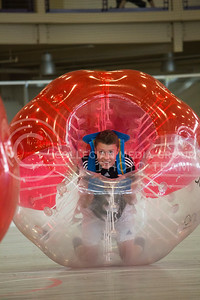 Brian Kassin, freshmen in Computer Engineering, gets comfortable in his bubble before starting a match at the Chester E. Peters Recreation Complex on October 3, 2015. (Miranda Snyder | The Collegian)