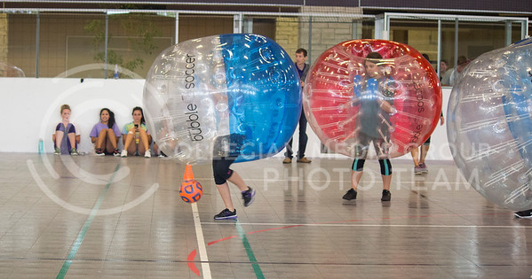 Sorority members play bubble soccer to help benefit the Brett Mock Scholarship fund at the Chester E. Peters Recreation Complex on October 3, 2015. (Miranda Snyder | The Collegian)