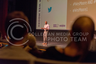 "Wes Moore, author of ""The Other Wes Moore,"" gives advice to the crowd in McCain Auditorium during the book's discussion sponsored by K-State Book Network and K-State First on Oct. 14, 2015. (George Walker 