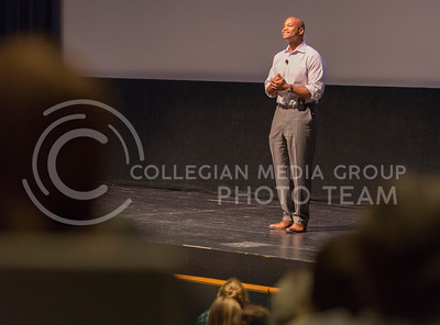 "Wes Moore, author of ""The Other Wes Moore,"" answers a question from Twitter during the book's discussion in McCain Auditorium sponsored by K-State Book Network and K-State First on Oct. 14, 2015. (George Walker 