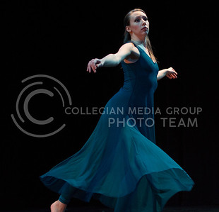 Dancer, Carolyn Fitzgibbons, rehearses the choreography to Decision at the dress rehearsal in Mark A. Chapman Theatre on Dec. 1, 2015. (Jessica Robbins | The Collegian)
