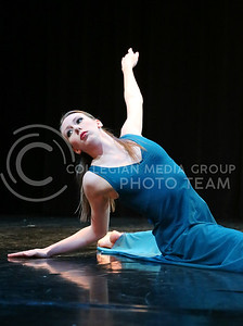 """Carolyn Fitzgibbons, a senior in theatre, performed """"Decision"""" in the Mark Chapman Theatre during the dress rehearsal of Winter Dance on Dec, 1, 2015. (Rachael Cunningham   The Collegain)"""
