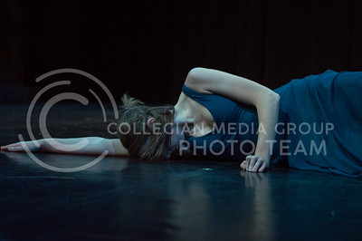 Dancer, Carolyn Fitzgibbons, practices the choreography to the solo dance called Decision at dress rehearsal on Dec. 1, 2015 in Mark A. Chapman Theatre. (Jessica Robbins   The Collegian)