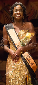 Sydnee Harris, senior in education, recieves the title of Miss Black at the Miss Black and Gold Pageant in Forum Hall at the K-State Student Union on Dec, 5, 2015. (Miranda Snyder | The Collegian)