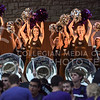 The Classy Cats perform on stage while the Pride of Wildcat Land play during Purple Power Play in Manhattan City Park on Sept. 3, 2015.  (Rodney Dimick | The Collegian)