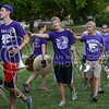 Band members follow each other to get organized for the pep rally during Purple Power Play in Manhattan City Park on Sept. 3, 2015.  The Pride of Wildcat Land gave a preview of their sound before the first game of the season on Sept. 5.   (Rodney Dimck | The Collegian)