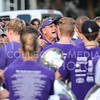 Director of Bands Frank Tracz gives his band instructions before the pep rally in Manhattan City Park on Sept. 3, 2015.  The band played toward the end of Purple Power Play.