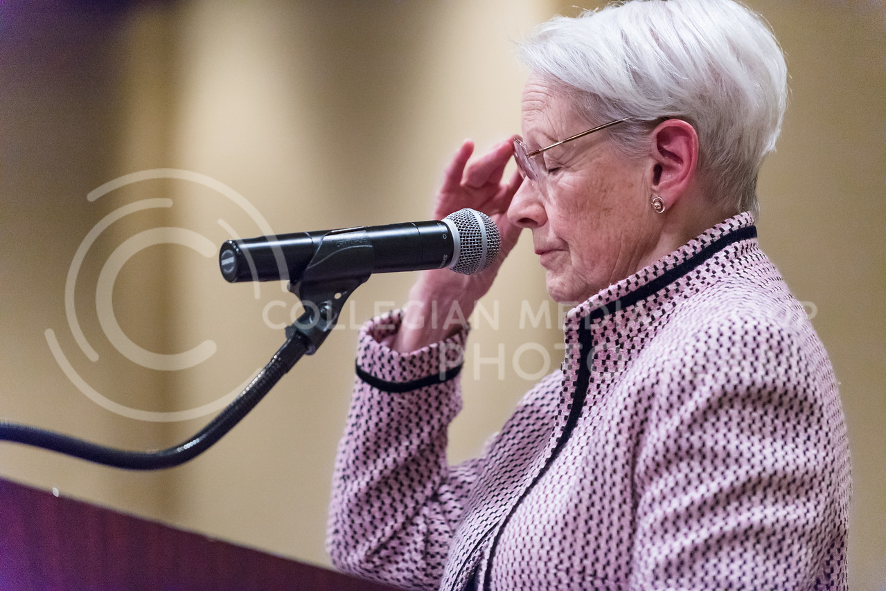 """Nancy Kassebaum Baker, former U.S. Senator for Kansas, speaks about her frustrations with how U.S. politics have shifted for the worse after her service, saying that no one is willing to compromise any longer, during her speech on """"The Challenge of Change"""" at the Women's Studies Advisory Board Dinner Mar. 31, 2016, at Manhattan Country Club. (Parker Robb   The Collegian)"""