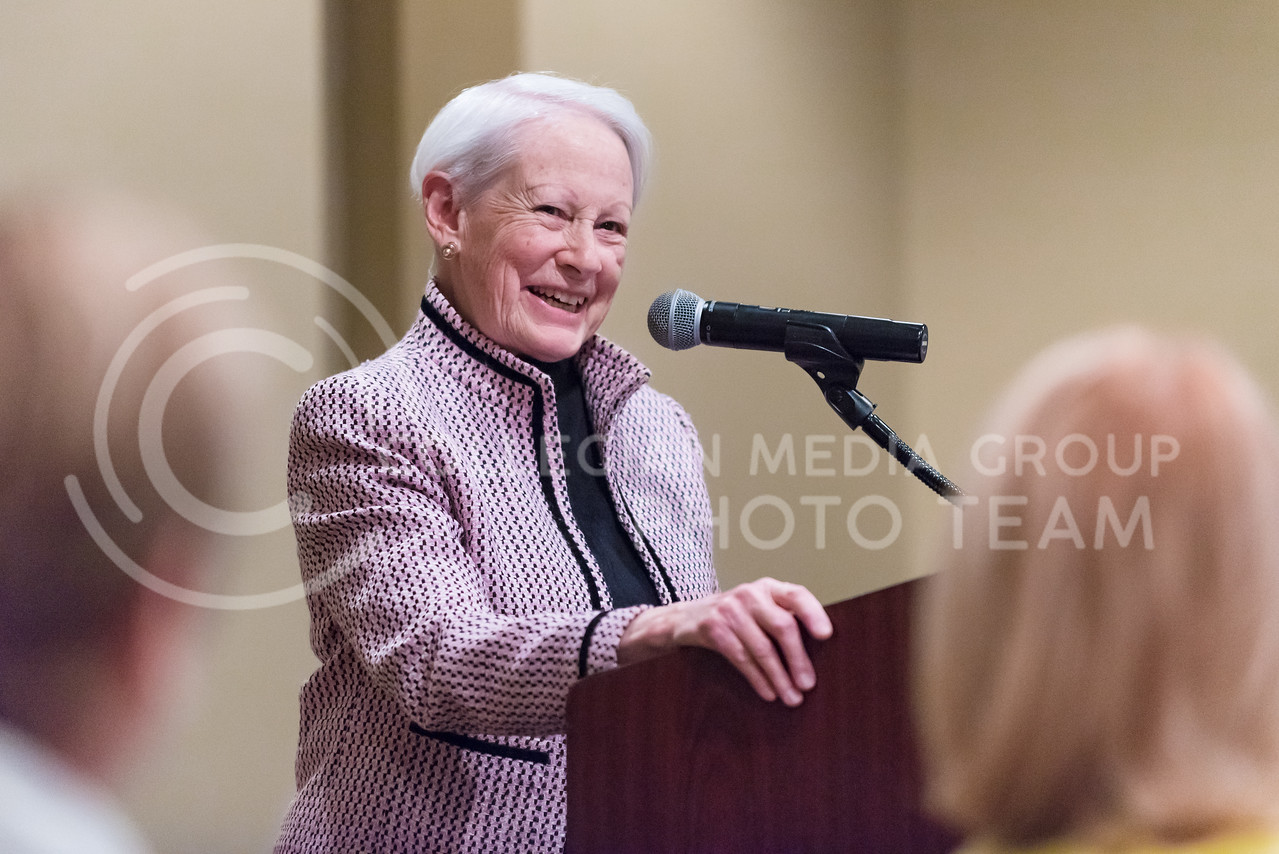 """Nancy Kassebaum Baker, former U.S. Senator for Kansas, speaks about women's important roles in Kansas history, politics, and society, from saloon-smasher Carrie Nation to Populist leader Mary Elizabeth Lease, during her speech on """"The Challenge of Change"""" at the Women's Studies Advisory Board Dinner Mar. 31, 2016, at Manhattan Country Club. Kassebaum Baker went on to critique the squabbling that goes on in the federal and state governments  with sides unwilling to compromise or propose quick fixes. (Parker Robb   The Collegian)"""