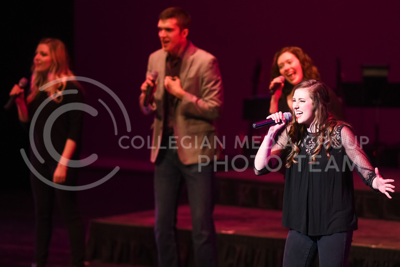 In-A-Chord performs during their joint concert with the K-State Singers Apr. 22, 2016, in McCain Auditorium. (Parker Robb | The Collegian)
