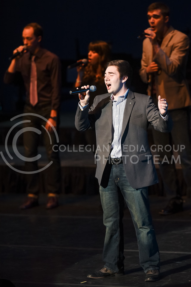 In-A-Chord performs during their joint concert with the K-State Singers Apr. 22, 2016, in McCain Auditorium. (Parker Robb   The Collegian)