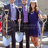 From left to right, Student Body Vice President Joe Tinker, senior in psychology, Student Body President Andy Hurtig, senior in accounting, and Union Corporation Board President Becky Brady, senior in elementary education, were on hand to initiate the construction on the Union at the K-State Student Union renovation groundbreaking ceremony Wednesday afternoon. (Parker Robb | The Collegian)