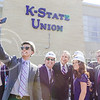 Student Body Vice President Joe Tinker, senior in psychology, takes a selfie with K-State President Kirk Schulz, Dean of Student Life Pat Bosco, Union Corporation Board President Becky Brady, senior in elementary education, and Union Director Bill Smirga at the K-State Student Union renovation groundbreaking ceremony Wednesday afternoon. (Parker Robb | The Collegian)