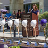 Union Corporation Board President Becky Brady, senior in elementary education, speaks about how even though she didn't think anything of the building upon first arriving at K-State, the Union quickly became her home on campus, at the K-State Student Union renovation groundbreaking ceremony Wednesday afternoon. (Parker Robb | The Collegian)