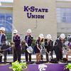 K-State and Union leadership, including (from left to right) Student Body Vice President Joe Tinker, K-State President Kirk Schulz, Student Body President Any Hurtig, Union Corporation Board President Becky Brady, Dean of Student Life Pat Bosco, Union Director Bill Smirga, and Willie the Wildcat turn the first dirt at the K-State Student Union renovation groundbreaking ceremony Wednesday afternoon. (Parker Robb | The Collegian)