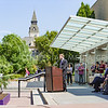 K-State Student Body President Andy Hurtig, senior in accounting, speaks as other dignitaries listen at the K-State Student Union renovation groundbreaking ceremony Wednesday afternoon. (Parker Robb | The Collegian)