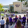 K-State students and Manahttan residends gathered on Bosco Plaza to hear remarks from K-State dignitaries and to witness the turning of dirt at the K-State Student Union renovation groundbreaking ceremony Wednesday afternoon. (Parker Robb | The Collegian)