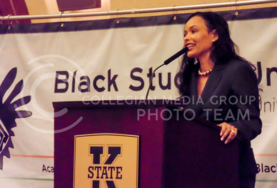 The Black Student Union event for the 2016 Black History Month presents keynote speaker Maggie Anderson, who discusses why she and her family spent a year only buying from black businesses, on Feb. 9, 2016, in the K-State Alumni Center Ballroom. (Jessica Robbins | The Collegian)