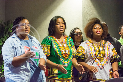 "Black Student Union members sing alongside other BSU members before starting off the ""Our Story Kings and Queens"" event on Nov. 10, 2015 in the Student Union. BSU held the event as a part of their My Black is Beautiful Week. (Cassandra Nguyen 