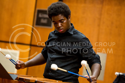 Kareem Tippin, sophomore in music education, performs Dream Sequence #2 by Tracy Thomas on the marimba during the Upper Division Percussion Studio Recital in Kirmser Hall on Oct. 27, 2015. (Emily Starkey | The Collegian)