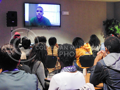 Black Student Union members watch inspirational video at the Our Story: Kings and Queens event in the North Dining Center in the Student Union on Nov. 10, 2015. (Jessica Robbins | The Collegian)
