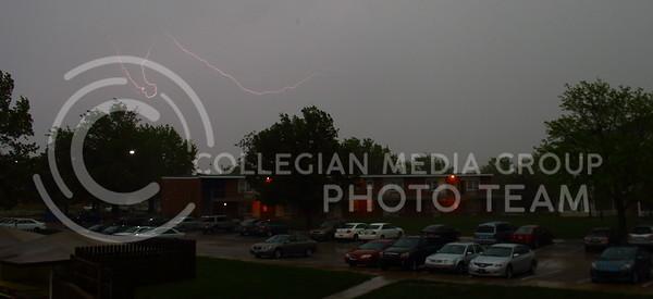 Lightning strikes over the Jardine Apartment Complex on April 26, 2016. (Miranda Snyder | The Collegian)