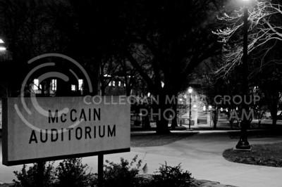 A Street Light illuminates the McCain Auditorium sign on March 23, 2016. (Austin Fuller | The Collegian)