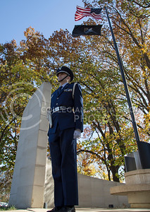 Cadet Major Spencer Salmans, junior in mechanical engineering, stands guard at the Vietnam War memorial on Nov. 11, 2015.