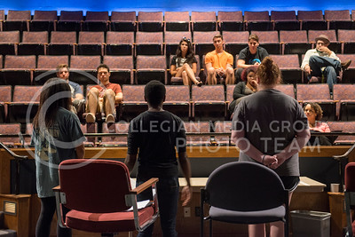 Maggie Glazier, juinor studying theater, Darrington Clark, senior studying theater and journalism, and Nicole Casonhua, senior studying theater, talk with interested students during an Ebony Theater introduction performance in Nicholes Theater on Sep. 8, 2015. (Evert Nelson | The Collegian)