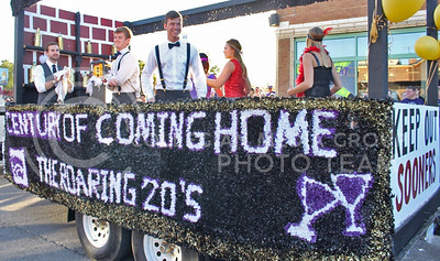 A float in the K-State Homecoming Parade celebrating the 1920's drove through Aggieville on Oct. 16, 2015. (Miranda Snyder | The Collegian)