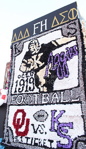 A float made by members of Delta Delta Delta, Farmhouse and Delta Sigma Phi was featured in the K-State Homecoming Parade on Oct. 16, 2015. (Miranda Snyder | The Collegian)
