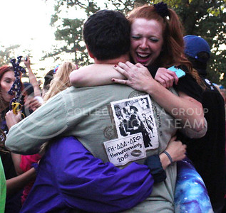 Members of Kappa Alpha Theta celebrate at the end of the pep rally for their overall homecoming week victory at Larry Norvell Band Shell at City Park on Oct. 16, 2015. (Miranda Snyder | The Collegian)