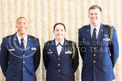 Chris Campbell, senior in social science, Renee Douglas, senior in public relations and Ryan Wasinger, senior in business management are scheduled to be commishioned as officers in the U.S. Air Force later this year. (Shelton Burch | The Collegian)