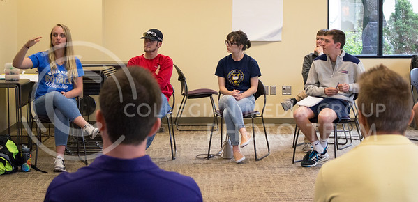 Students engage in conversation about food insecurity, and food insecurity at K-State in the Leadership Studies building on April 5, 2016. (Jessica Robbins | The Collegian)