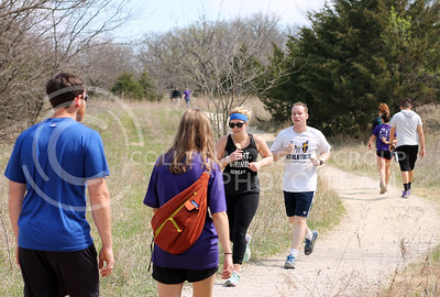 K-State students and Manhattan residents enjoy walking and running on the nature trail at the Konza Prairie on April 10, 2016. (Emily Lenk | The Collegian)