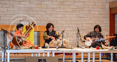 World renound musicians Vidushi Mita Nag, playing the sitar, Subhen Chatterjee, playing the tabla, and Pandit Joydeep Ghosh, playing the sorad, preform for the first time at K-State in All Faiths Chapel on April 19, 2016. (Lyndsey Saunders | The Collegian)