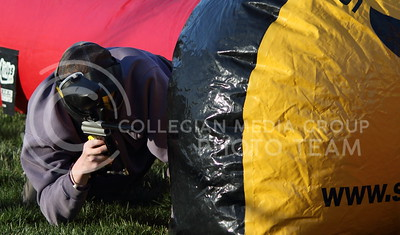 Brendan Whitney, junior in biological systems engineering, plays paintball in the Chester E. Peters Recreation Complex outdoor field on April 8, 2016. (Miranda Snyder | The Collegian)