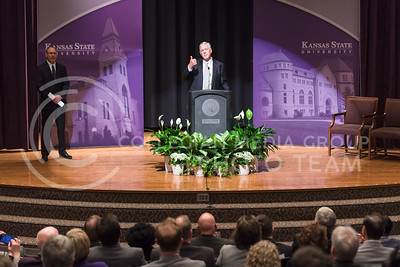 Avid K-State supporter and retired Air Force General Richard B. Myers describes how he plans to get to work immediately to make the transition as smooth as possible for the next incoming permanent K-State president as he is introduced as the interim K-State President the morning of Apr. 20, 2016. Outgoing President Kirk Schulz accepted a position as the President of Washington State University a few weeks earlier. (Parker Robb | The Collegian)