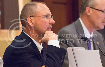 Shane Bangerter, chairman for the Kansas Board of Regents, listens to presentations during Wednesday's meeting.